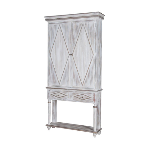 Guildmaster GUI-605031-GM Somerset Collection Front Porch White,Lightly Distressed Heritage Grey Stain Finish Cabinet