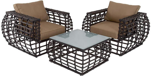 Benzara 60666 Classy Aluminum Wicker Outdoor Set Of 3