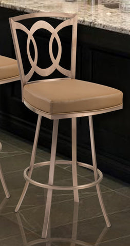 "Armen Living LCDR30SWBACAG201 Drake 30"" Contemporary Swivel Barstool In Camel  and Gold Finish"