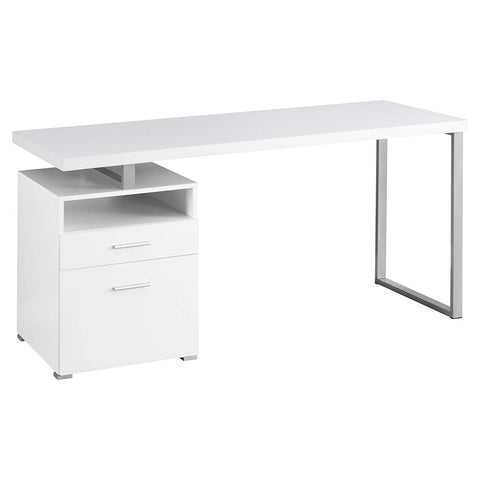 Monarch Metal Computer Desk, White/Silver, 60""