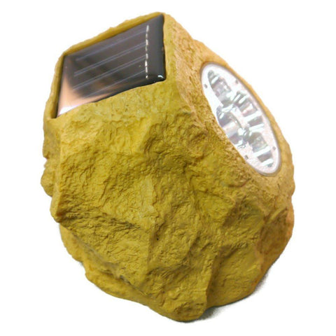 Homebrite Set of 4 Solar Power Sandstone Rock Spot Lights - Peazz.com - 1