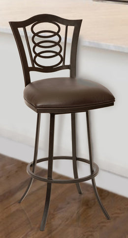 "Armen Living LCES26BABR Essex 26"" Transitional Barstool In Coffee  and Auburn Bay Metal"