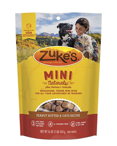 Zuke's Z-33022 Mini Naturals Moist Miniature Treat for Dogs Peanut Butter 1 lbs.