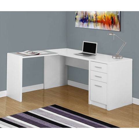 Monarch Specialties I 7136 White Corner with Tempered Glass Computer Desk