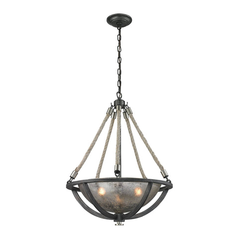 ELK Lighting 63054-3 Natural Rope Collection Silvered Graphite,Polished Nickel Finish - PeazzLighting