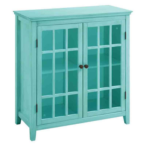 Linon 650200TRQ01U Largo Antique Turquoise Double Door Cabinet