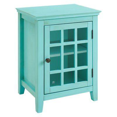 Linon 650201TRQ01U Largo Antique Turquoise Single Door Cabinet
