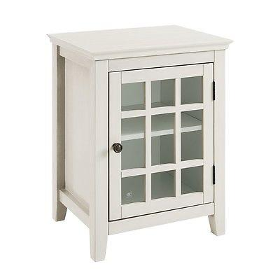 Linon 650201WHT01U Largo Antique White Single Door Cabinet