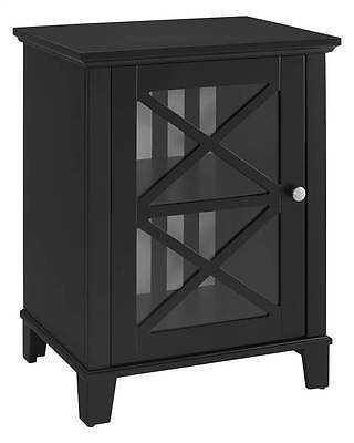 Linon 650215BLK01U Rapture Awning Stripe Small Cabinet