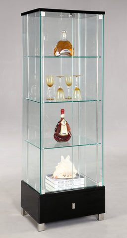 Chintaly 6628-CUR-BLK Glass Curio