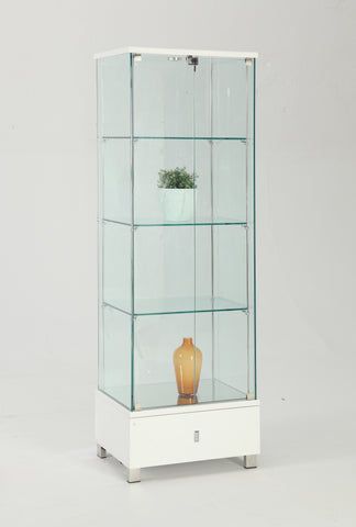 Chintaly 6628-CUR-WHT Glass Curio