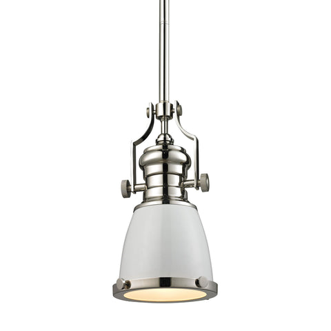 ELK Lighting 66514-1 Chadwick Collection Gloss White,Polished Nickel Finish - PeazzLighting