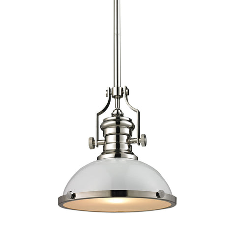 ELK Lighting 66515-1 Chadwick Collection Gloss White,Polished Nickel Finish - PeazzLighting