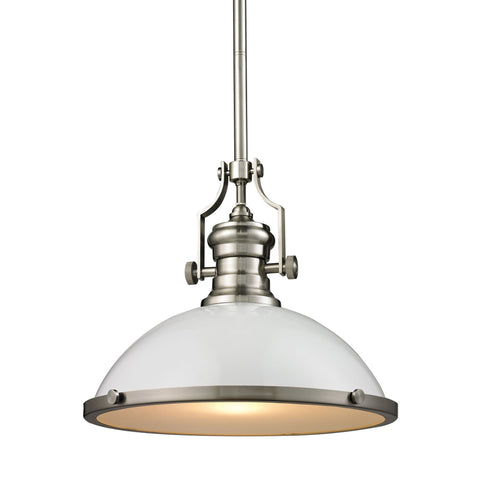 ELK Lighting 66526-1 Chadwick Collection Gloss White,Satin Nickel Finish - PeazzLighting
