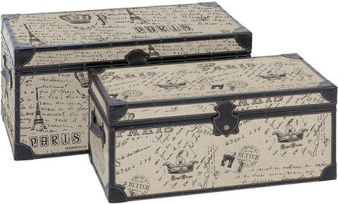 Benzara 66693 Wood Burlap Trunk S/2 Set Of Two Easy To Place Anywhere Trunks