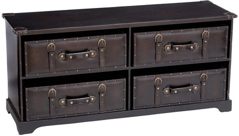 Benzara 66859 Wood Leather Cabinet With Rectangle Top