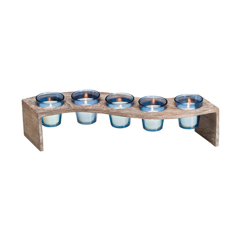 Pomeroy POM-670374 Serpentine Collection Roast,Denim Finish Candle/Candle Holder