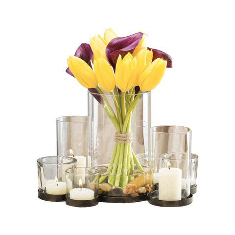 Pomeroy POM-670381 Classique Collection Rustic,Clear Finish Candle/Candle Holder