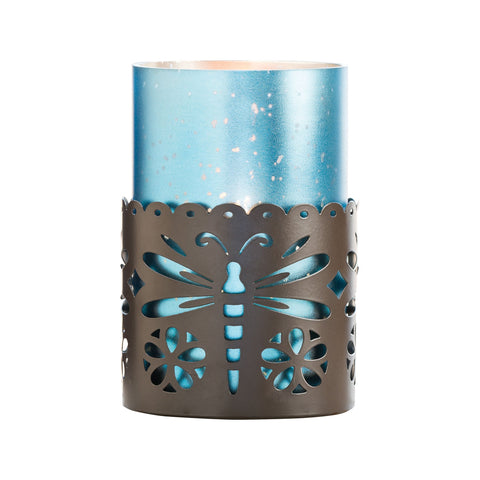 Pomeroy POM-687518 Dragonfly Collection Rustic,Antique Frosted Denim Finish Candle/Candle Holder