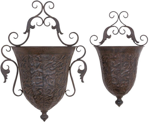 Benzara 69133 Metal Wall Planter S/2 Low Cost But Rare To Find Elsewhere