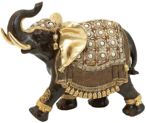 Benzara 69476 Polystone Elephant With Intricate Detailing And Carvings