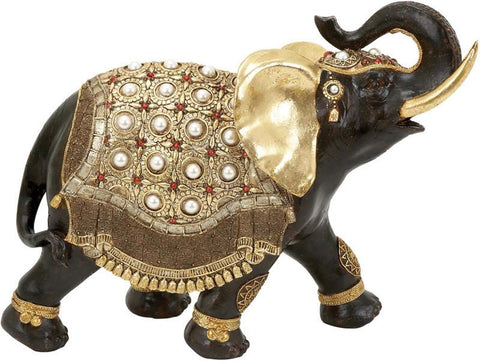 Benzara 69478 Polystone Elephant Distinctive And Elegant With Gold Detail