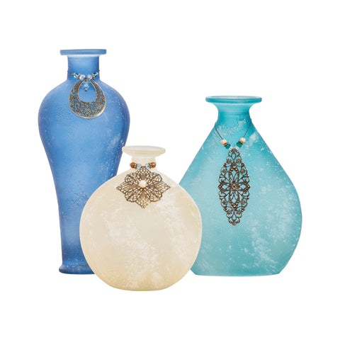 Pomeroy POM-699016 Skylar Collection Ivory,Azure,Marina Finish Vase/Urn