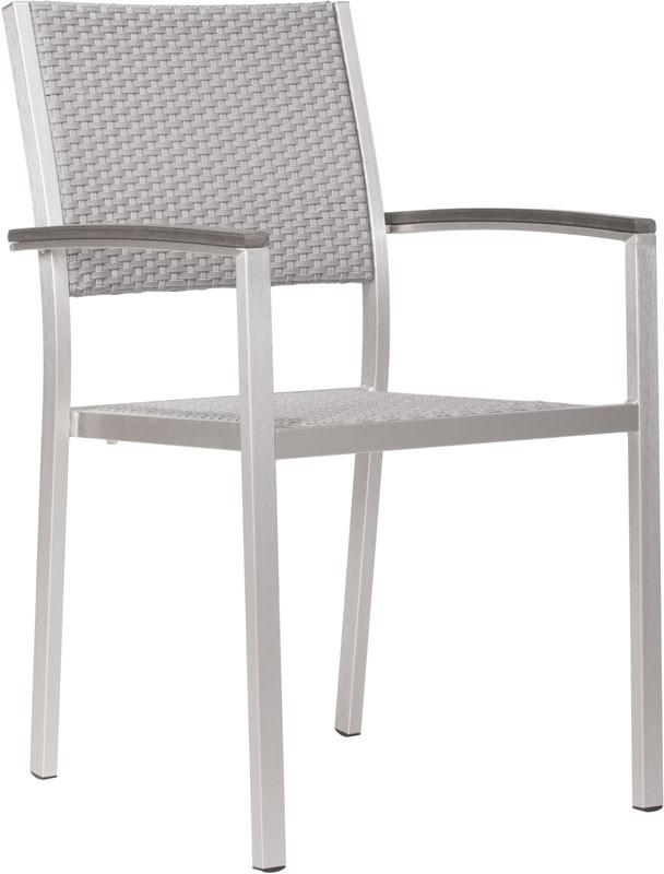 Zuo Dining Arm Chair Color Brushed Aluminum Brushed Aluminum Metropolitan