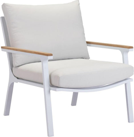 Zuo Modern 703571 Maya Beach Arm Chair Color Light Gray, Natural & White Powder Coated Aluminum Finish - Set of 2 - Peazz.com - 1