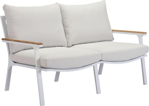 Zuo Modern 703572 Maya Beach Sofa Color Light Gray, Nautral & White Powder Coated Aluminum Finish - Peazz.com - 1