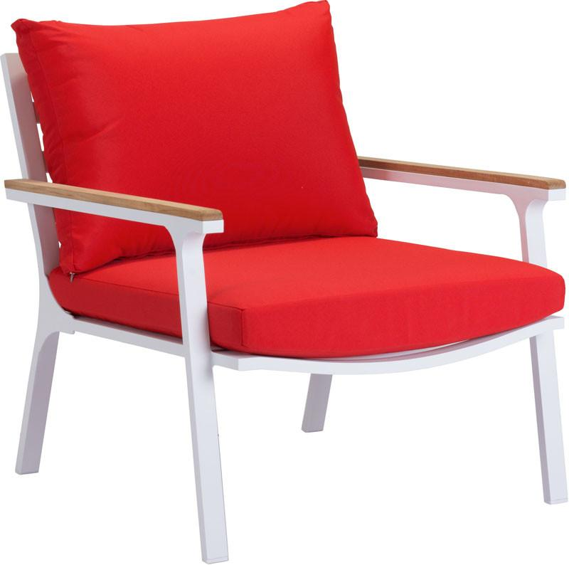 Beach Arm Chair Color Red Nautral White Powder Coated Aluminum 16963 Product Photo