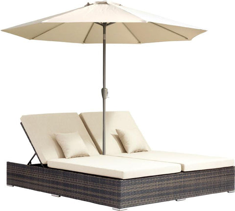 Zuo Modern 703634 Atlantic Double Chaise Lounge Color Brown & Beige Aluminum Frame Finish - Peazz.com