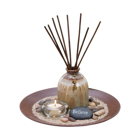 Pomeroy POM-709012 Trista Collection Rosewood,Amber Latte,Clear Finish Diffusers/Incense