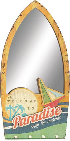 Benzara 70947 Exclusive Beach Themed Wood Wall Mirror