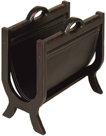 Benzara 71379 Wood Leather Magazine Holder With Leather Cover