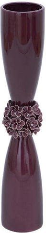 Benzara 71775 Ceramic Purple Vase With Flower With Perfect Finish
