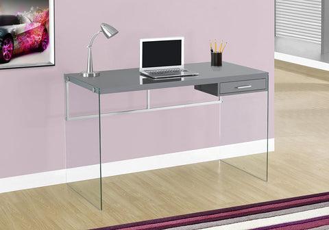 "Monarch Computer Desk, 48"", Glossy Grey"