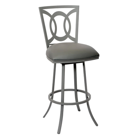 "Armen Living LCDR30BAGR Drake 30"" Transitional Barstool In Gray  and Gray Metal"