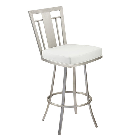 "Armen Living LCCL30SWBAWHB201 Cleo 30"" Modern Swivel Barstool In White  and Stainless Steel"