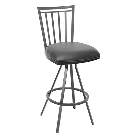 "Armen Living LCAI26BAGR Aidan 26"" Transitional Barstool In Gray  and Gray Metal"