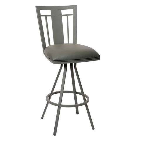 "Armen Living LCCL26BAGR Cleo 26"" Transitional Barstool In Gray  and Gray Metal"