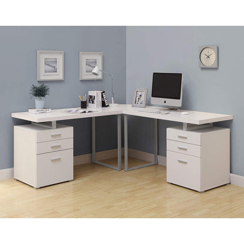 Monarch COMPUTER DESK,L SHAPED WITH ROUND CORNER, WHITE