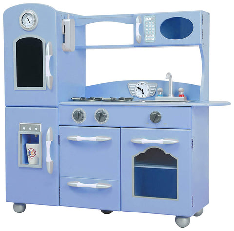 Teamson TD-11414S Teamson Kids - Little Chef Westchester Retro Play Kitchen - Serenity Blue
