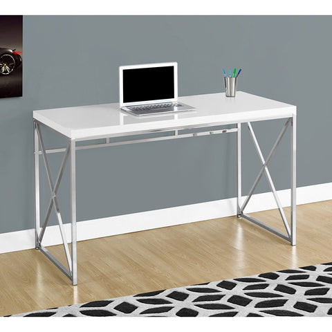 "Monarch I 7205 Chrome Metal Computer Desk, 48"", Glossy White"