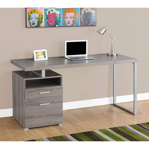 Monarch Metal Computer Desk, Dark Taupe/Silver, 60""