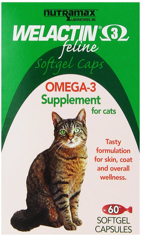 Welactin Feline Omega-3 Supplement, 60 Softgel Capsules - Peazz Pet