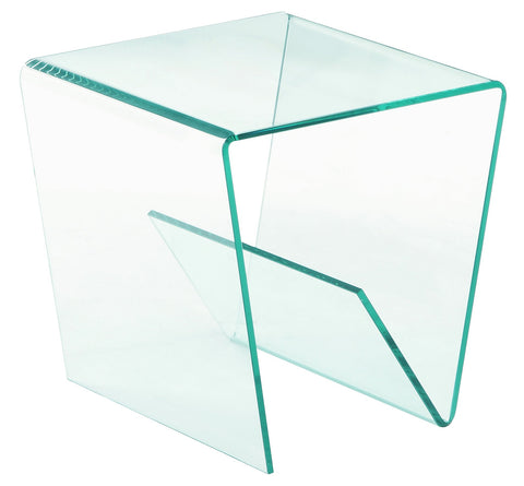 Chintaly 72102-LT 72102 Square Bent Clear Glass Lamp Table