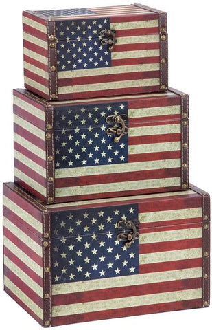 Benzara 72196 Wood Leather Box S/3 With Us Flag Colors