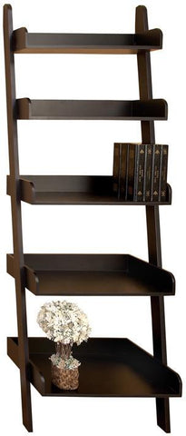 Benzara 72882 Wood Leaning Shelf Brown And Black
