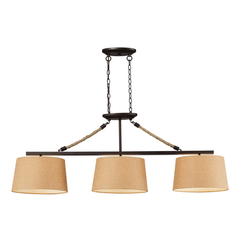 ELK Lighting 73046-3 Natural Rope Collection Aged Bronze Finish - PeazzLighting